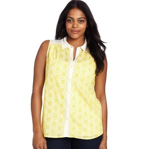 Lucky Brand yellow embroidered geometric shirt